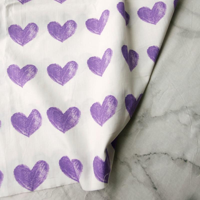140x50cm Hand-Gemalt Kreide Wind Lila Liebe Muster Popeline Baumwolle Stoff DIY grils Kleid Hemd bekleidungs Material Nähen Tuch