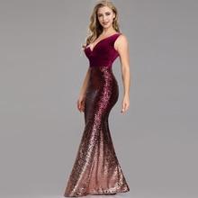 Sleeveless Backless Sexy Abendkleider Elegante V-ausschnitt Velour & Pailletten Stoff Meerjungfrau Robe De Soiree Mode Formale Kleider