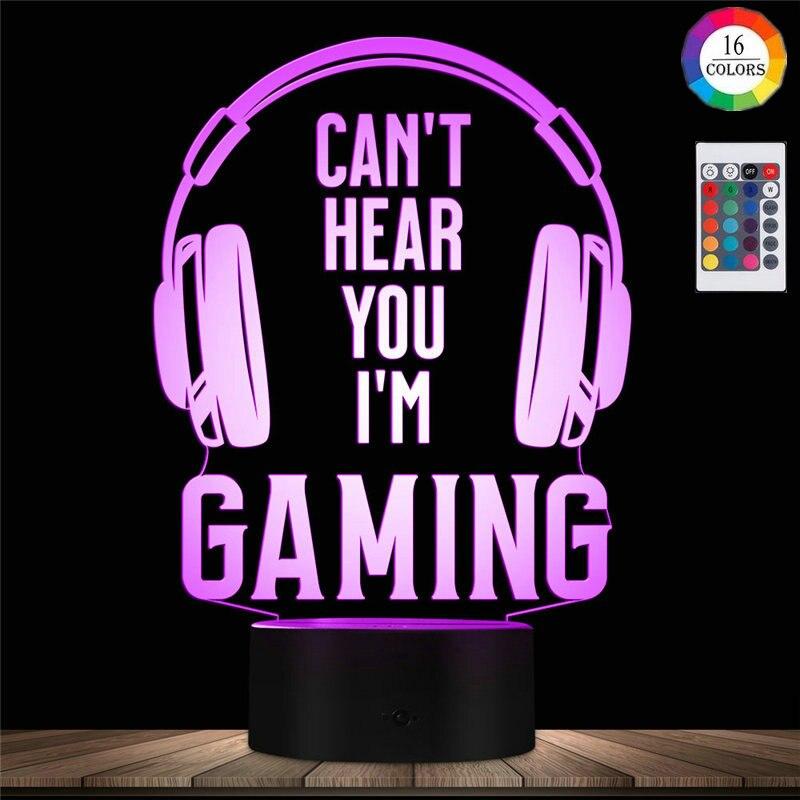 jogos de video luz da noite nao pode ouvi lo eu estou gaming candeeiro de mesa para