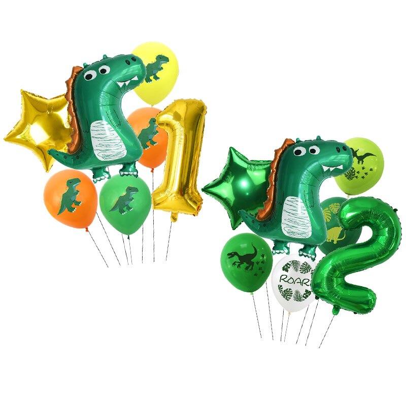 Lote de 7 Globos de papel de aluminio de dinosaurio de 32 pulgadas, Globos de números verdes, temática de dinosaurio, decoración de Globos para fiestas en jungla de cumpleaños