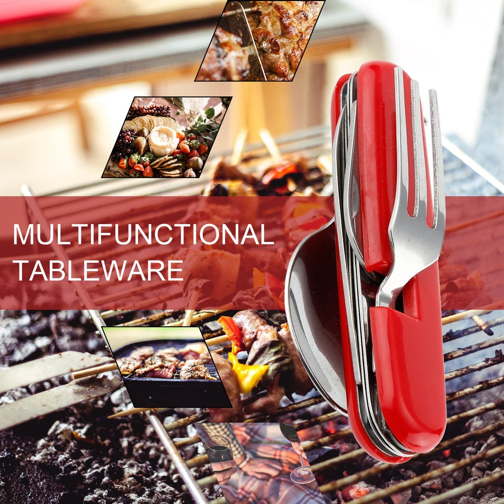 Stainless Steel Multifunctional Tableware Well-Polished Portable Outdoor Fork Spoon Knife Hiking Picnic Travelling Dinnerware