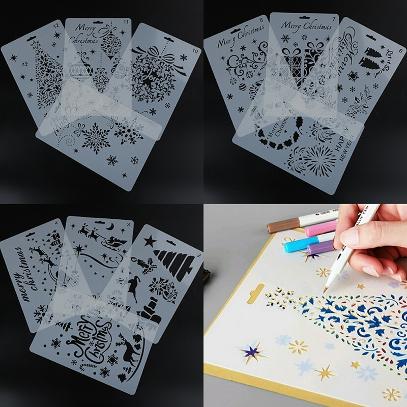 plastic stencils template for walls scrapbooking painting phone album decor embossing paper card diy craft fairy layering 12 Styles DIY Craft Christmas Layering Stencils For Walls Painting Scrapbooking Stamp Album Decor Embossing Paper Card Template