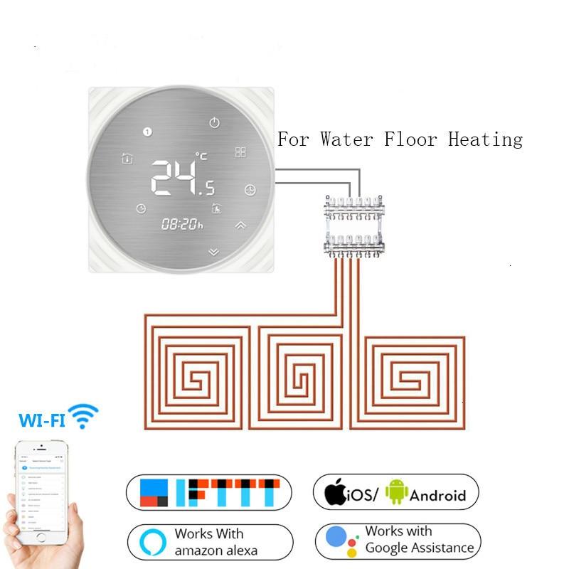 واي فاي منظم حراري ذكي المياه الكلمة التدفئة من المعدن المصقول لوحة الحياة الذكية/تويا APP التحكم عن بعد يعمل مع أليكسا جوجل المنزل