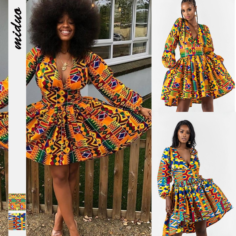 African Dress for Women 2020 News Fashion Robe Mini Dress African Traditional Print Bazin Vestidos Dashiki Party Africa Clothes