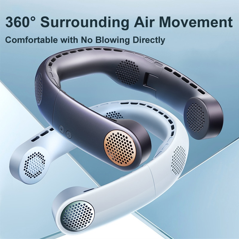 Hanging neck fan usb portable portable small charging mini lazy hanging neck hanging neck leafless refrigeration air conditionin