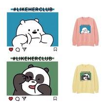 Autocollants de Couple dessin animé Panda   Sur les vêtements, mignon ours polaire, en fer sur transfert thermique, pour vêtements, niveau A, Applique sur les vêtements, décor