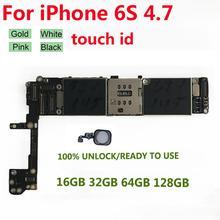 Original pour iPhone 6s carte mère avec empreinte digitale tactile 16GB 32GB 64GB déverrouiller iCloud pour iPhone 6S carte mère