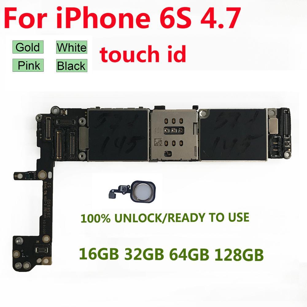 Original para iPhone 6 iPhone 6s Placa base con de huellas digitales Touch ID 16GB 32GB 64GB desbloquear iCloud para iPhone 6 iPhone 6S Logic board