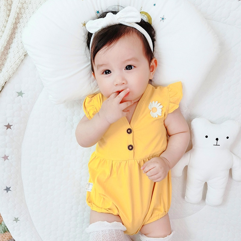 YG brand baby girls' short climbing clothes chrysanthemum suit in one piece summer baby cotton trian