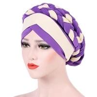 muslim women hemp braid cross velvet bead braid turban hat scarf cancer chemo beanies cap hijab headwear headwrap accessories