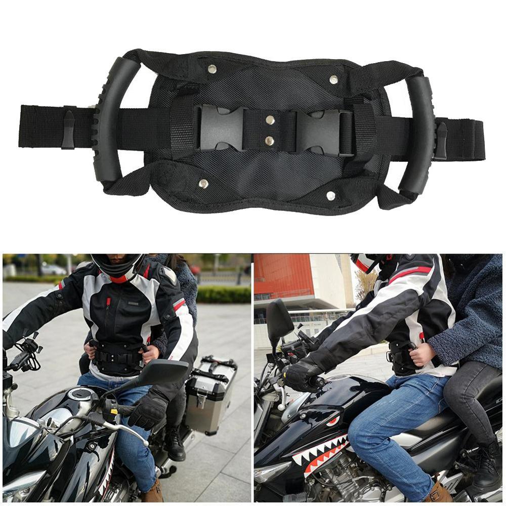 Universal cinto de segurança da motocicleta banco traseiro aperto do passageiro pega alça antiderrapante com alça para crianças dropshipping