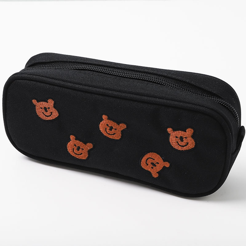 Embroidery Bear cute pencil case Kawaii stationery bag school Pencil cases for girls Student pen case big canvas pen bag gifts portable fruit silicone stationery box cute pencil case kawaii school pencil cases gifts for girls student pen case storage bag