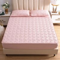 water ripple wave mattress cover solid color washable bed cover queen size breathable embossed quilted king mattress protector