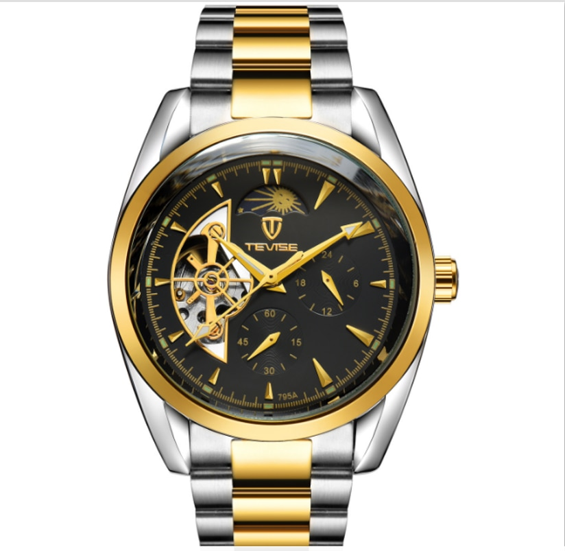 Hot Selling TEVISE Automatic Mechanical Mens Watch Starry Sky Moon Phase Luminous Tourbillon Fashion