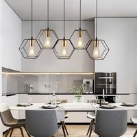 modern led chandelier hanging e27 lamp geometric metal frame lamp suitable for creative light above the table bedroom