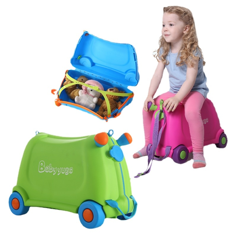 New Children's Luggages Cute Toy Cars Baby Locker Slide Rolling Luggage Suitcase Travel Kids Luggage for Riding On
