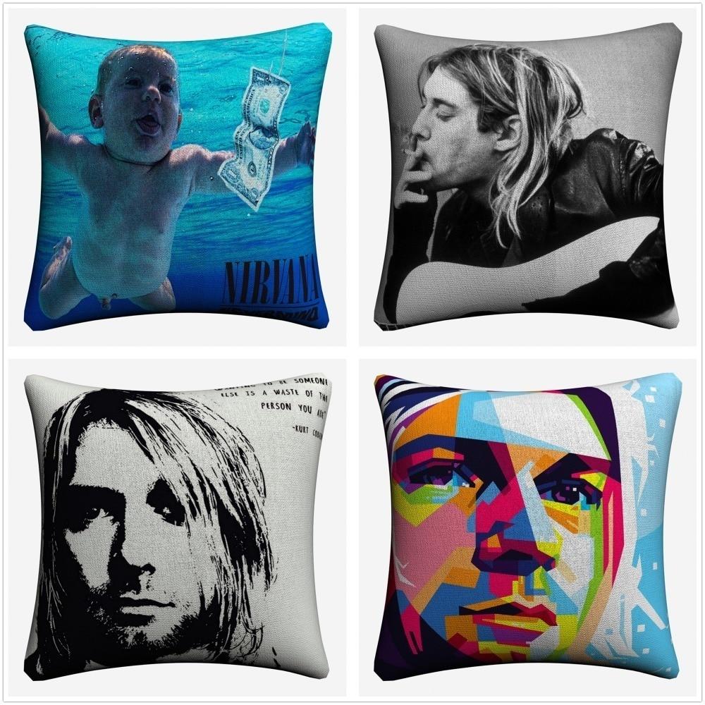 Nirvana Kurt Cobain Portrait Decorative Cotton Linen Cushion Cover 45x45cm For Sofa Chair Pillowcase Home Decor Almofada