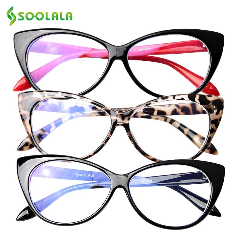 SOOLALA Cat Eye Anti Blue Light Reading Glasses Women Anti Glare Presbyopic Computer Eyeglasses Fram