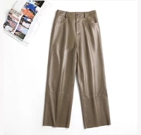 genuine pants leather women plus size real leather trousers autumn winter sheepskin wide legs high waist slim straight pants