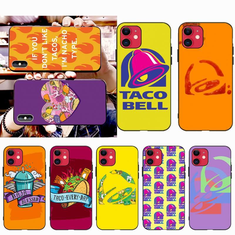 NBDRUICAI, carcasa de teléfono suave de TPU negro con Taco Bell para iPhone 11 pro XS MAX 8 7 6 6S Plus X 5S SE XR
