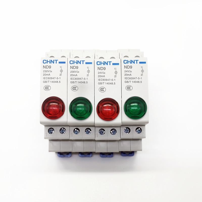 CHINTCHINT montaje carril DIN indicador luz ND9 serie lámpara LED AC DC230V 24V