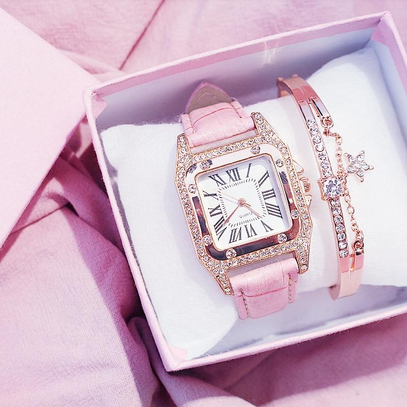 Women Diamond Watch Starry Square Dial Bracelet Watches Set Ladies Leather Band Quartz Wristwatch Female Clock Zegarek Damski