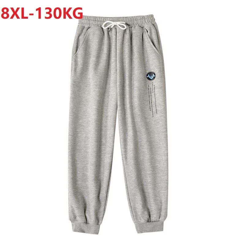 summer Men sweatpants casual skateboard pants cool high street pants plus size 8XL tops 54 56 black elasticity pants