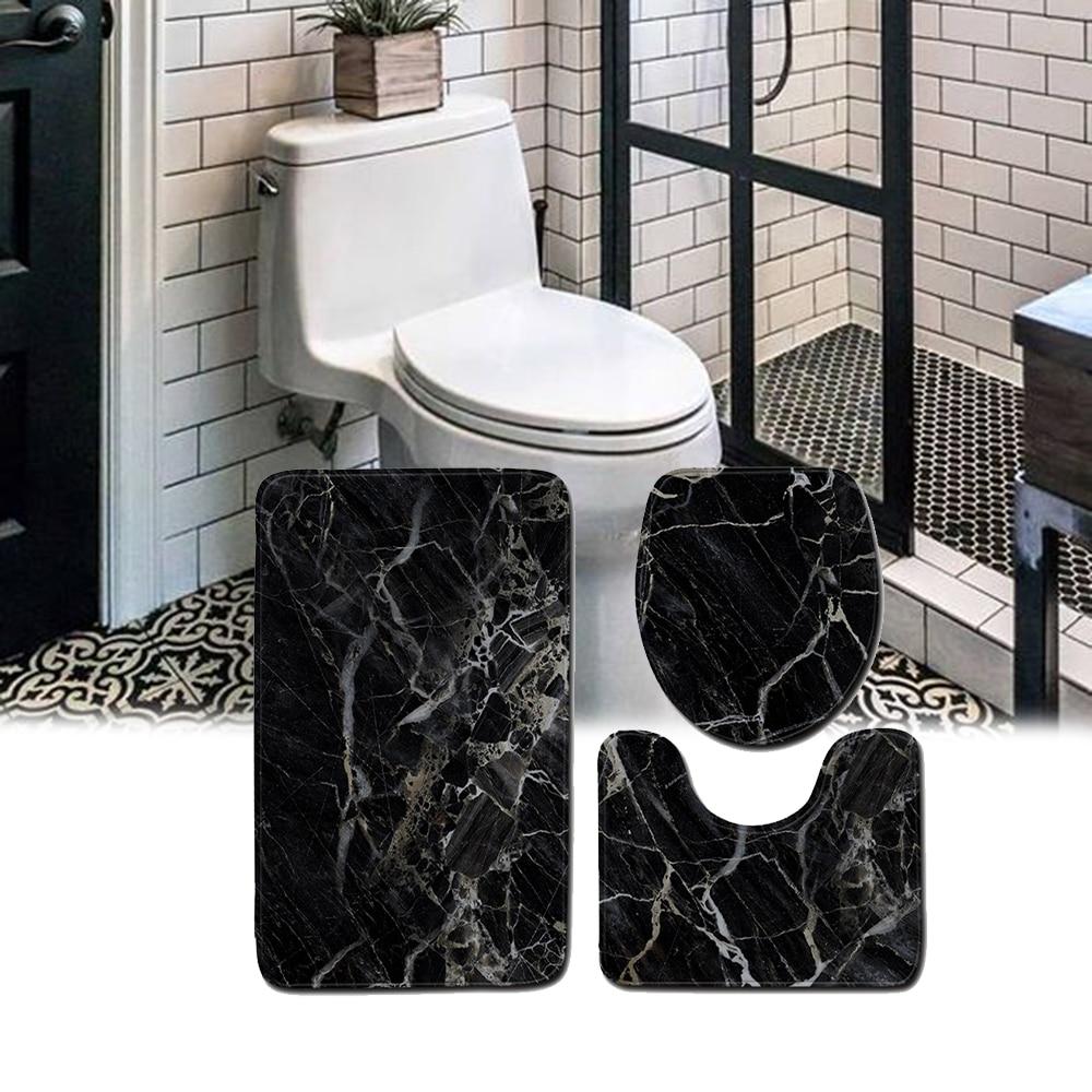 45*75cm 3 unids/set mármol impreso juego de baño alfombra de baño decoración de baño