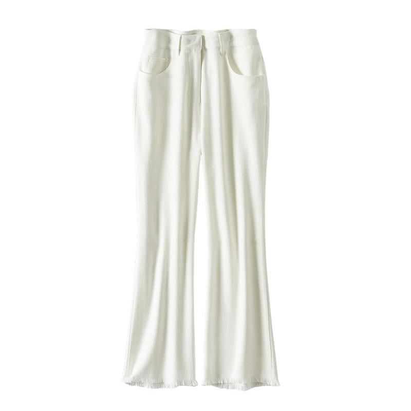SHUCHAN Woman Pants Ankle-Length  HIGH Waist Flare Pants Korean Style Fashion Mujer Pantalones  Trousers Women