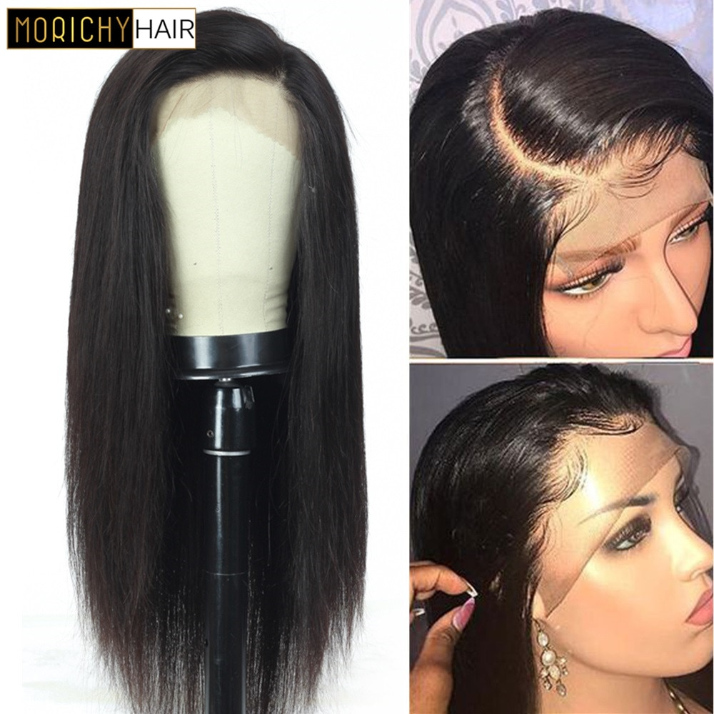 Morichy 13x4 Lace Front Human Hair Wigs For Women Cheap Straight Lace Frontal Wig Pre Plucked Wig Natural Hair with baby hair