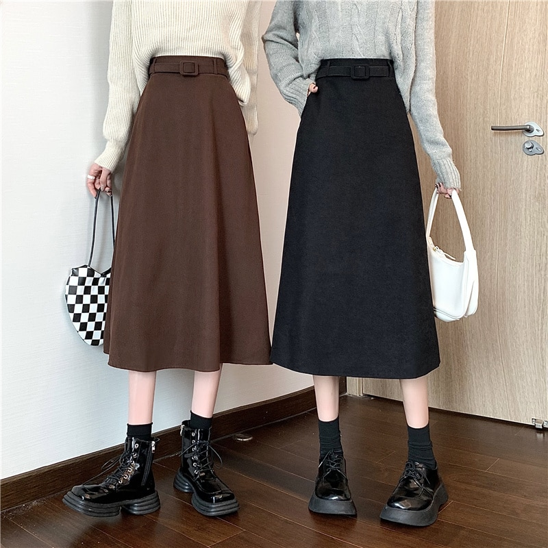 Small Women's Skirt 2021 Autumn New Fashion Chic French Design Sense Medium Long High Waist Skirt Fa