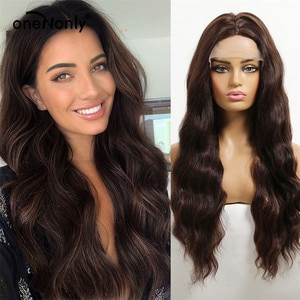 oneNonly Long Brown Loose Wave Omber Wigs Lace Front  Synthetic Wigs Free Part for Women Cosplay Natural Hair Heat Resistant