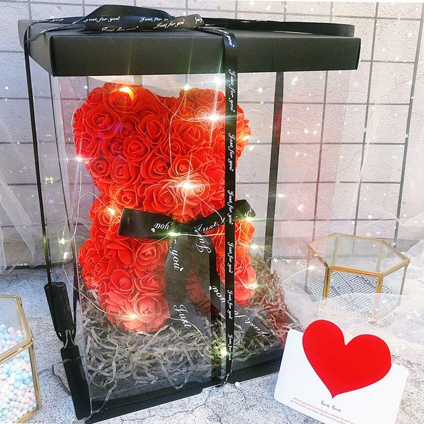 Caja cuadrada transparente, caja de embalaje para hornear Pasteles de cumpleaños, caja para decoración de postres, caja para hornear, caja para regalo de oso rosa