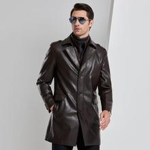 Coupe-vent en cuir écologique pour hommes dâge moyen longueur moyenne deux typles de col chinois célèbre col de costume en cuir
