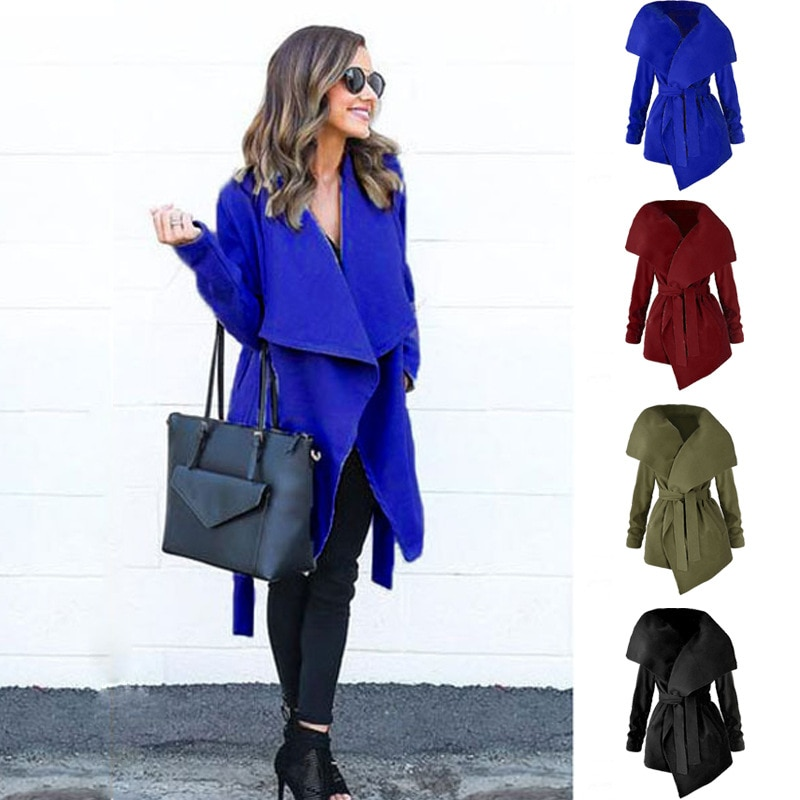 Solid Color Long Sleeves Turn-Down Collar with Sashes Pockets Women Coat New Arrival Autumn Warm Hot Style Outfits