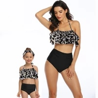 family dad and son mother and daughter swimwear beach bath swimsuits bikini mom and daughter matching dresses party