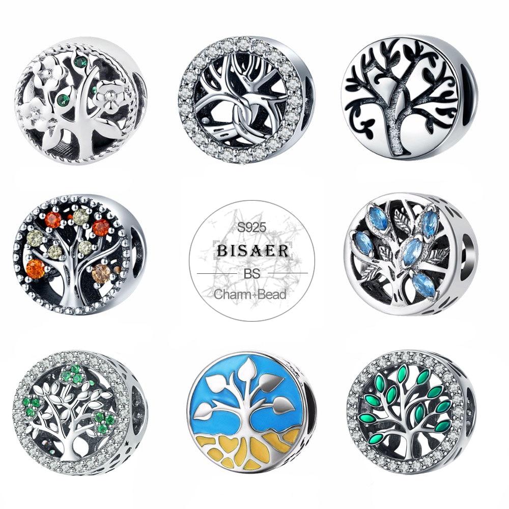 Authentique 925 argent Sterling 11 Styles arbre de la vie saison famille arbre perles breloque ajustement Original PAN Bracelet à breloques bijoux