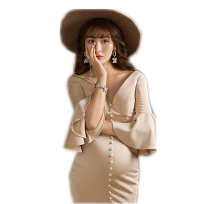 Light Beige Pregnancy Dress+hat Two-pieces Set Maternity Photography Props Mermaid Dress for Women Formal Party Wedding Clothes enlarge