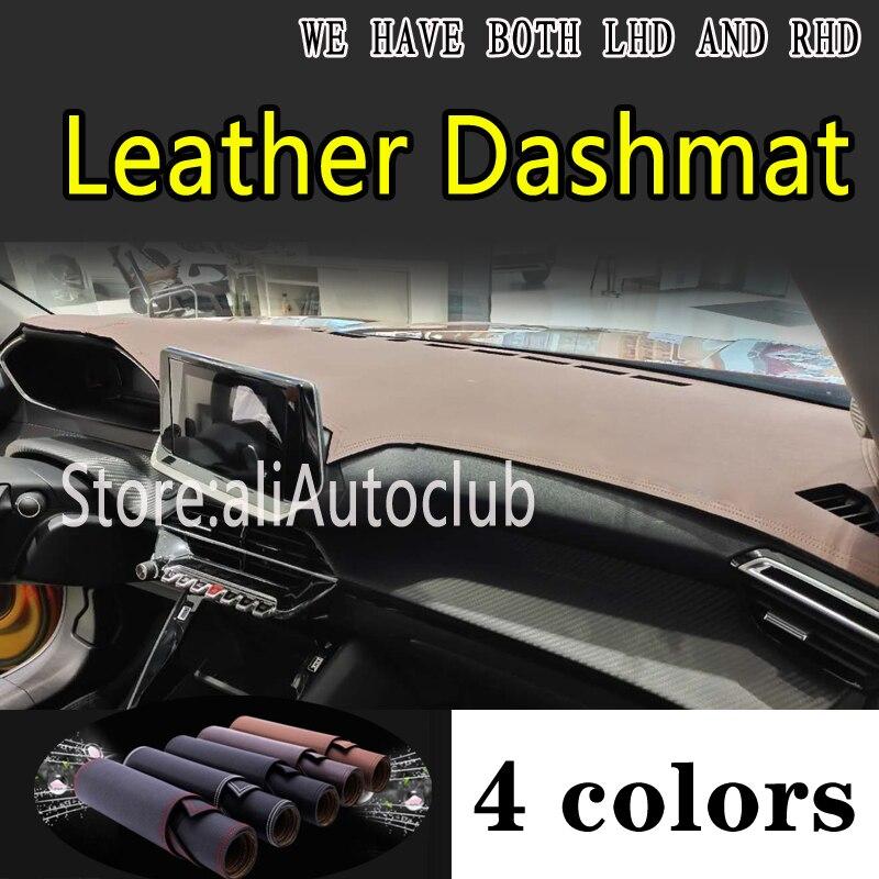 Para Peugeot 2008 208 G2 2020 2021 accesorios de cuero Dashmat cubiertas de diseño de coche Dash Mat Dashmat cubierta de salpicadero almohadillas de alfombra
