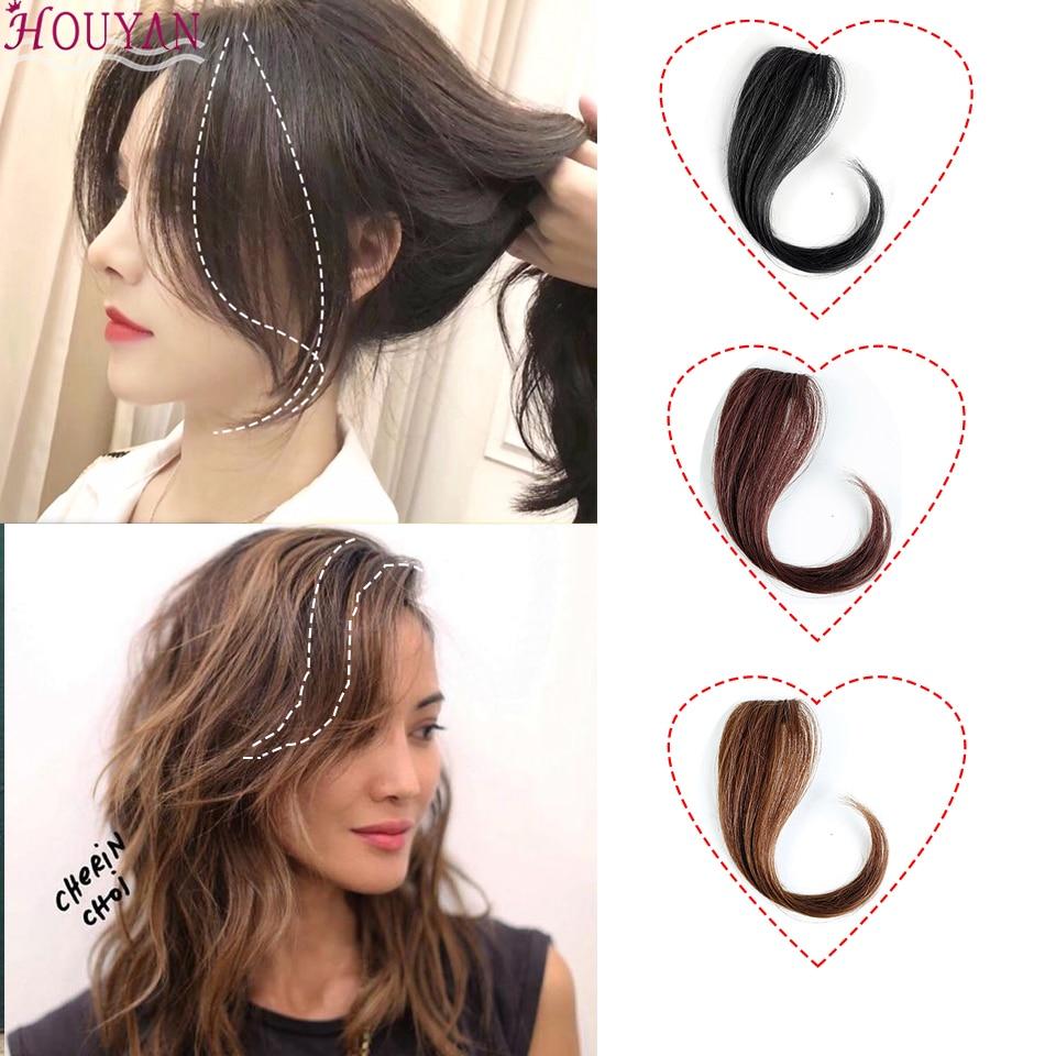 HOUYAN 25-30cm pelo pinza flequillo peluca femenina flequillo largo flequillo extendido flequillo frontal peluca natural mujer pelo largo