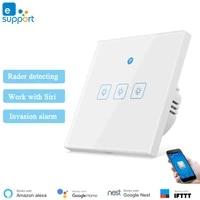 EWeLink     interrupteur mural intelligent avec detecteur de mouvement Radar  commande sans fil  Compatible avec Alexa Homekit