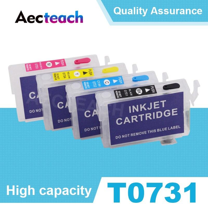 Aecteach T0731 T0732 T0733 T0734 cartucho de tinta rellenable para Epson Stylus T13 TX102 TX103 TX121 C79 C90 C92 C110 impresora