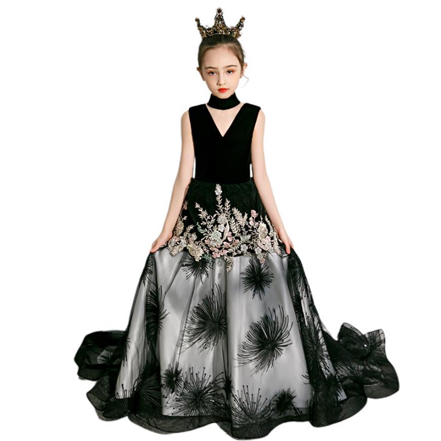 Meninas de luxo preto passarela vestido de noite crianças princesa vestido de baile vestidos para meninas casamento festa pageant vestidos robe l31