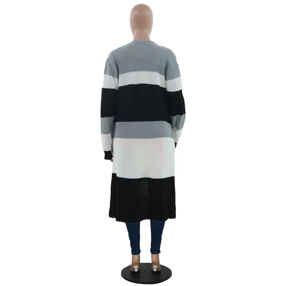 Rainbow Stripes Autumn Jacket Women Fashion Long Sleeve Open Stitch Slim X-Long Coat 2019 Winter Causal Plus Size Coats Outwear