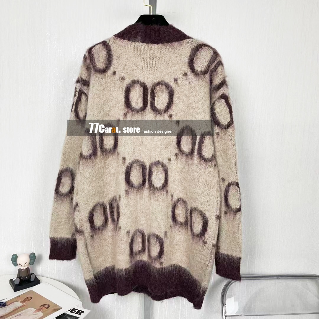 vintage sweaters cardigan for women fashion v neck classic logo jacquard long sleeve jumper casual loose wool sweater cardigans enlarge