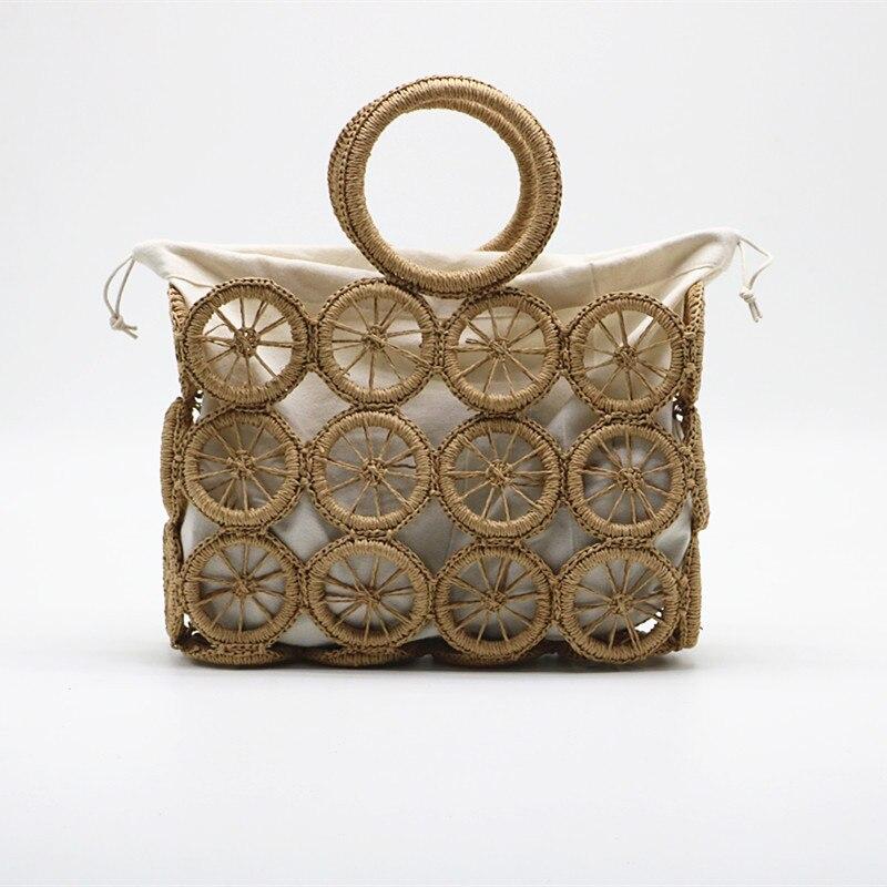 Летняя новая ручная соломенная сумка, чистая ручная тканая сумка, сумка на плечо для морского отдыха, пустотелая соломенная сумка, большая е...