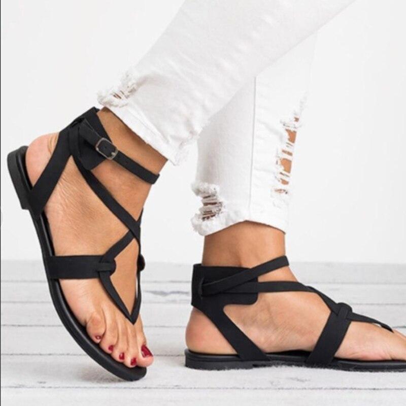 Temel kadın sandalet 2019 yeni kadın yaz sandalet artı boyutu 43 deri düz sandalet kadın Flip Flop rahat plaj ayakkabıları bayanlar