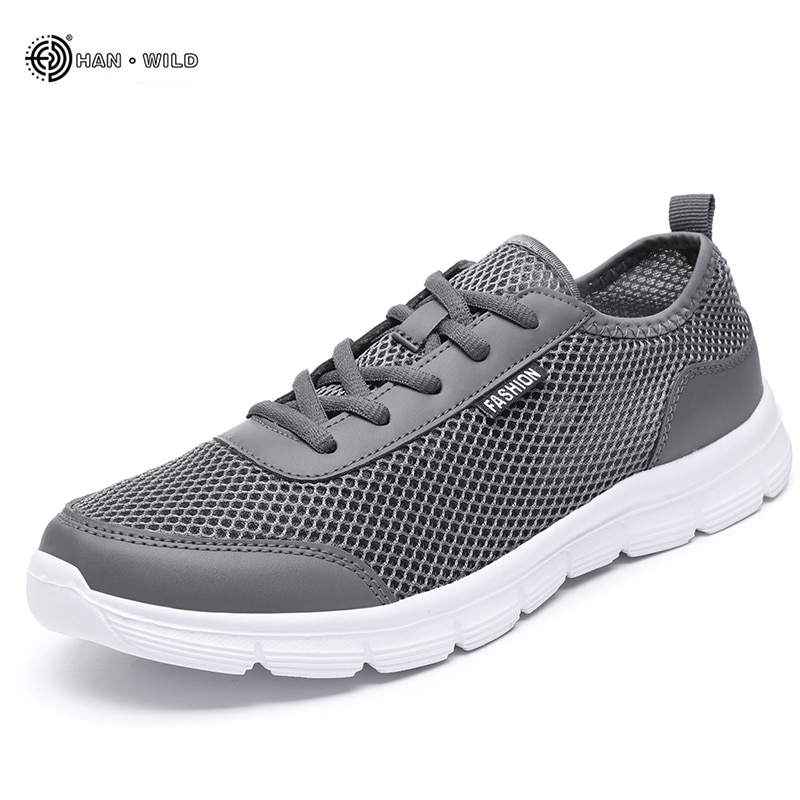 Homens tênis casuais sapatos 2019 verão respirável malha sapatos casal amante moda rendas até sapatos masculinos sapatos planos grande plus size