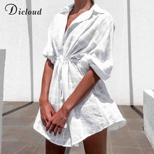 DICLOUD عادية الأبيض منقوشة قميص فستان المرأة الصيف الشاطئ صوفية التستر فستان الشمس عادية تونك مثير فساتين قطنية