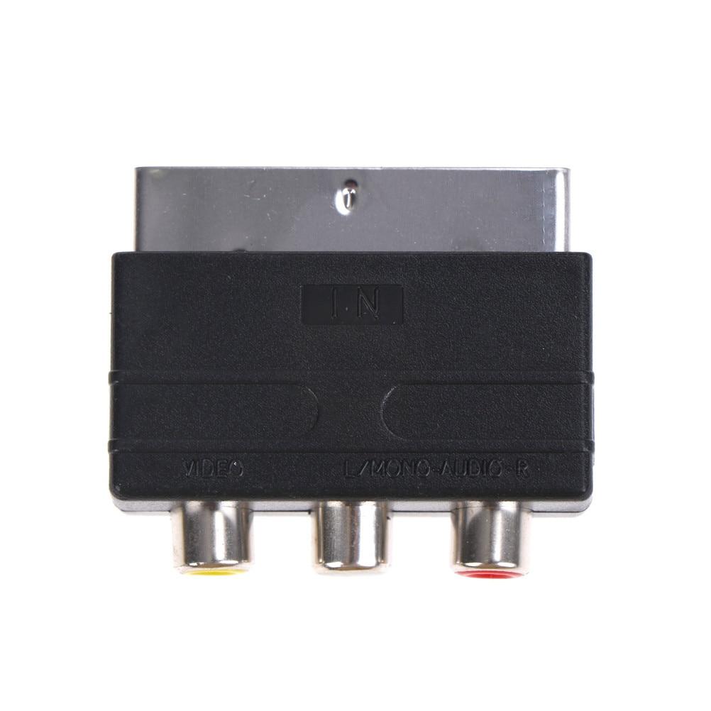 Tv tv projetor scart para 3 rca s-adaptador de vídeo composto rca phono conversor de adaptador av tv áudio para gravador de vídeo dvd